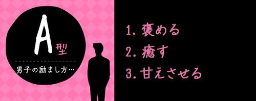 A型男子の励まし方…1.褒める 2.癒す 3.甘えさせる