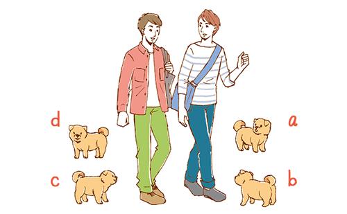 このイラストにいる男の子たちの足元に子犬を書き加えるとしたら、あなたはどの位置にする?
